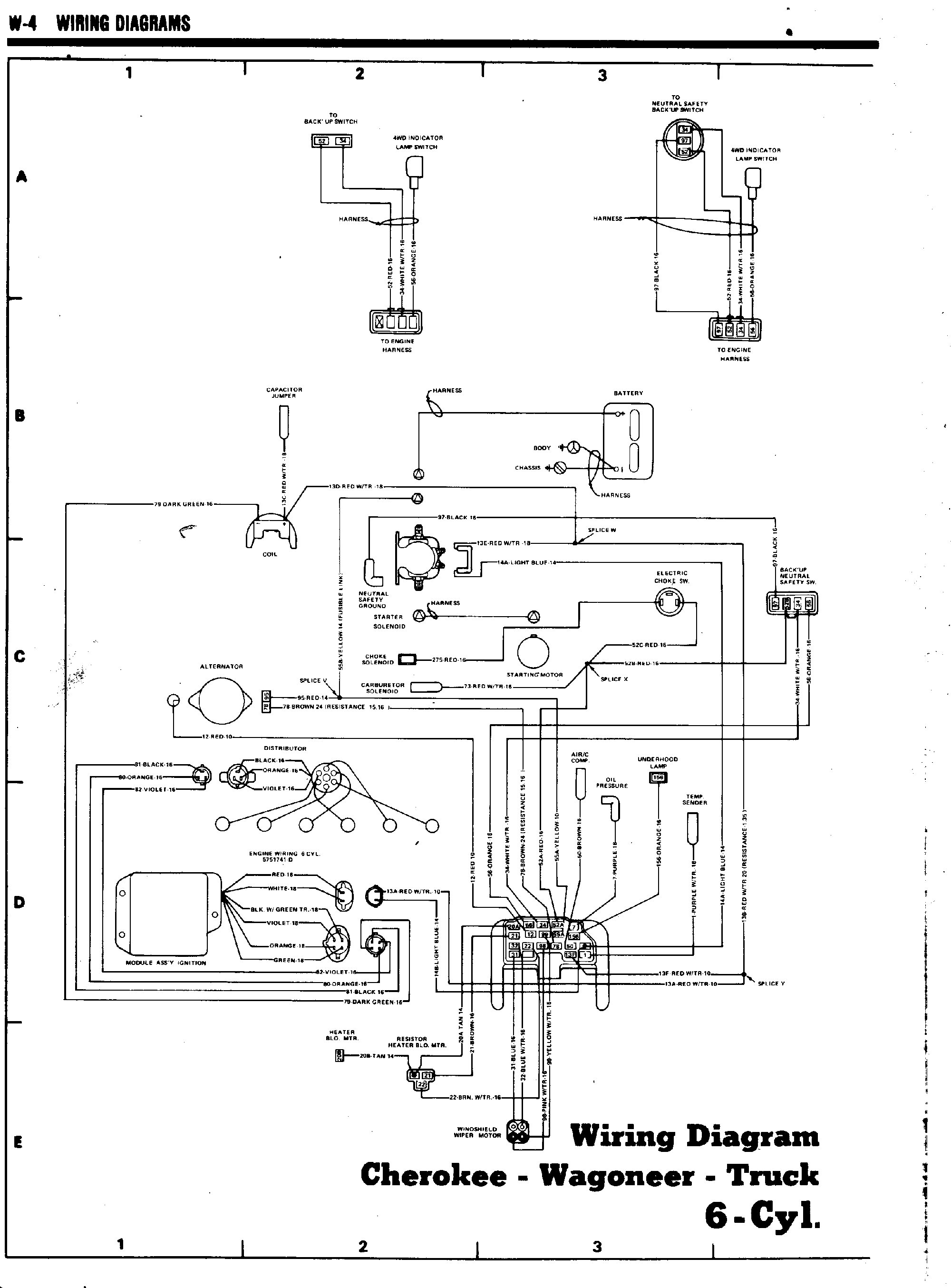 1980_cherokee_wagoneer_truck_6cyl_pg1 tom 'oljeep' collins fsj wiring page 1978 Corvette Wiring Diagram at crackthecode.co