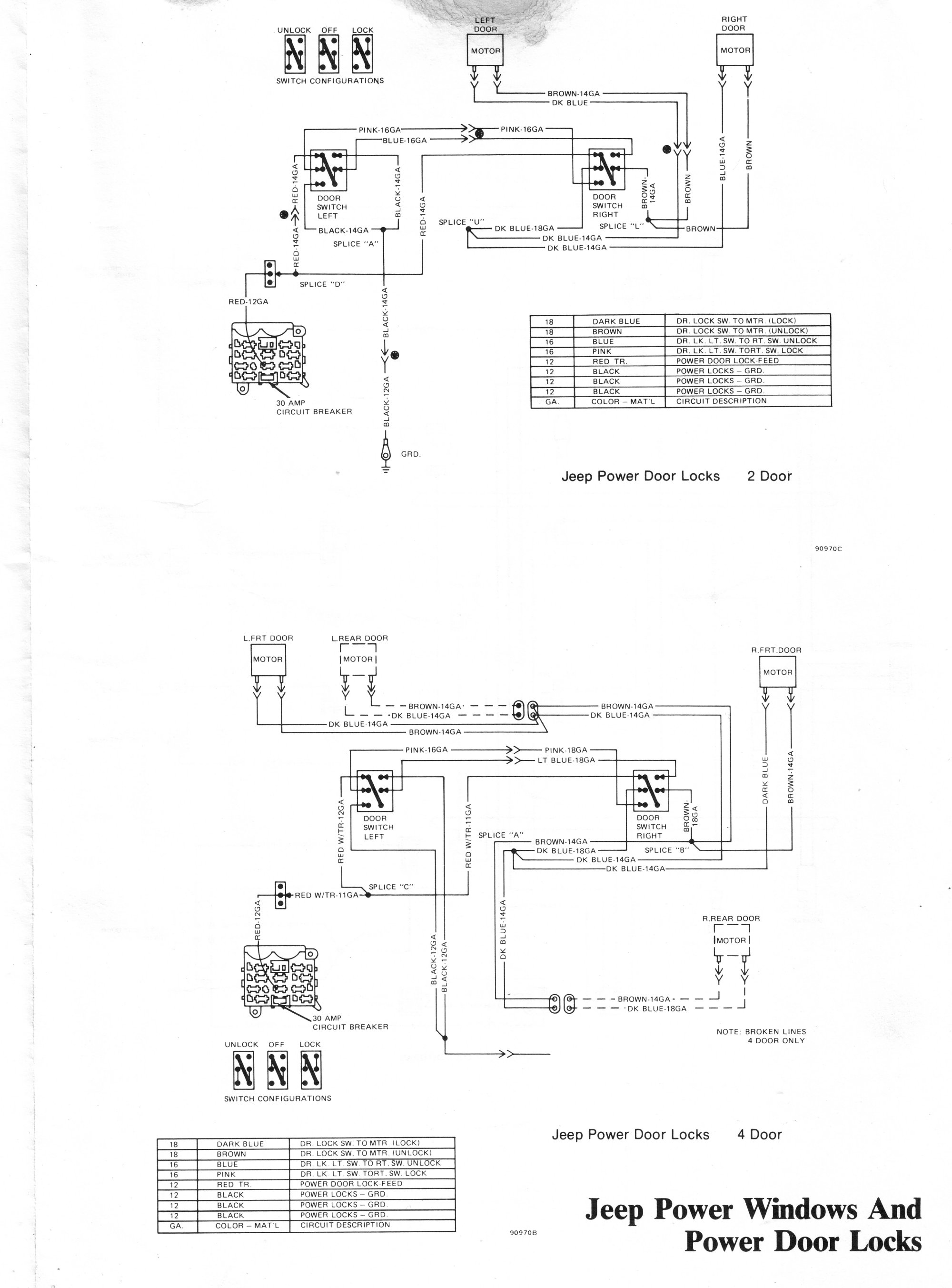 1980_cherokee_wagoneer_truck_Window_Door_pg4 tom 'oljeep' collins fsj wiring page Jeep Power Door Lock Wiring Diagram at soozxer.org