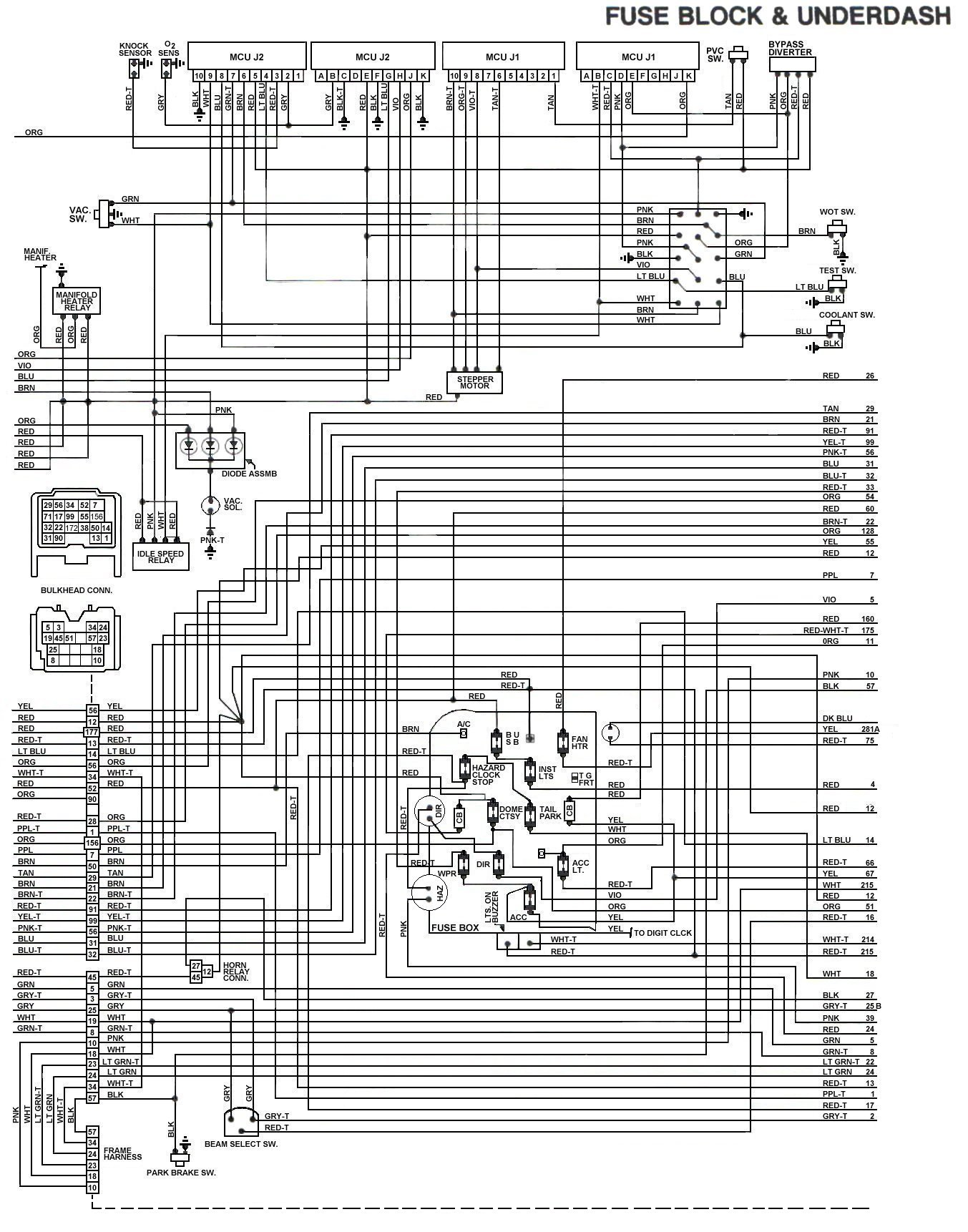 83_FSJ_WiringDiagram_FuseBlock Underdash tom 'oljeep' collins fsj wiring page 1989 Chevy 1500 Wiring Diagram at crackthecode.co