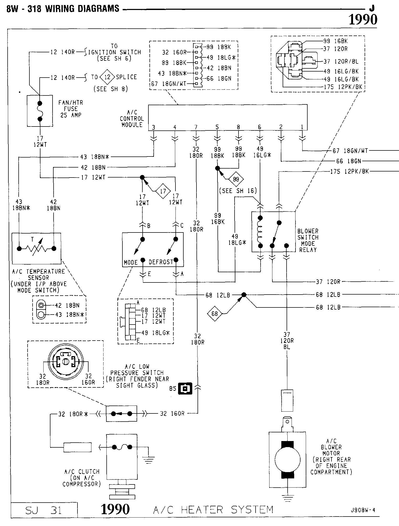 1990 Jeep Wrangler Starting System Wiring Diagram Tom Oljeep Collins Fsj Page A C Heater 1 Of 2