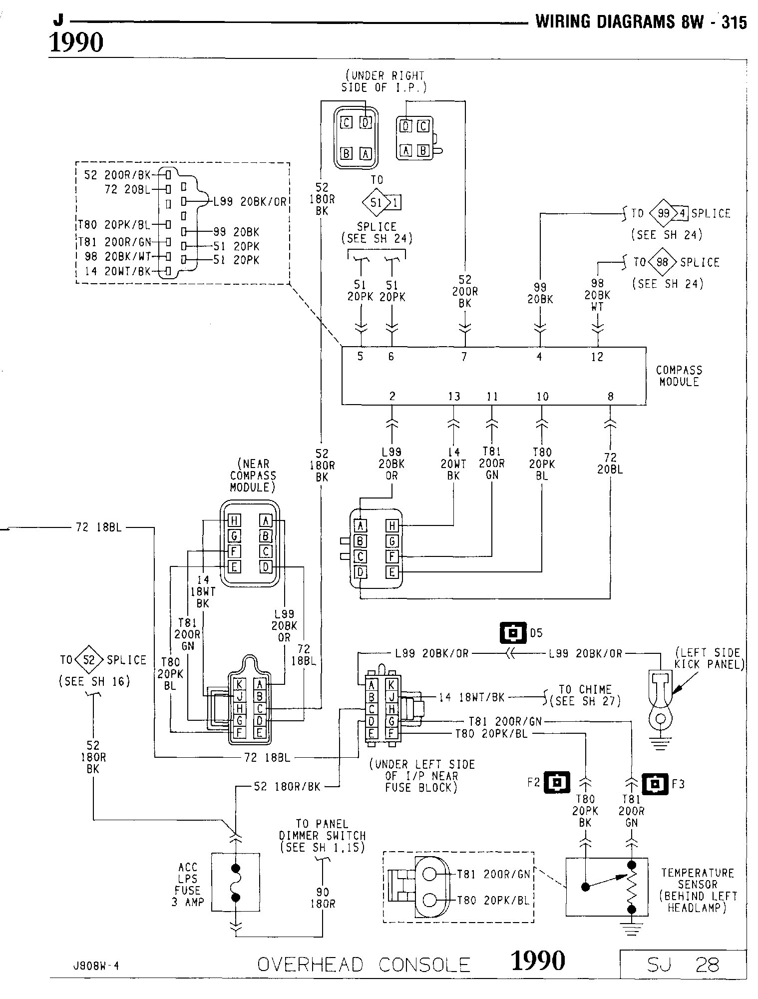 90 OverheadConsole 8W_Page 28 overhead console compass modul international full size jeep jeep cherokee overhead console wiring diagram at fashall.co
