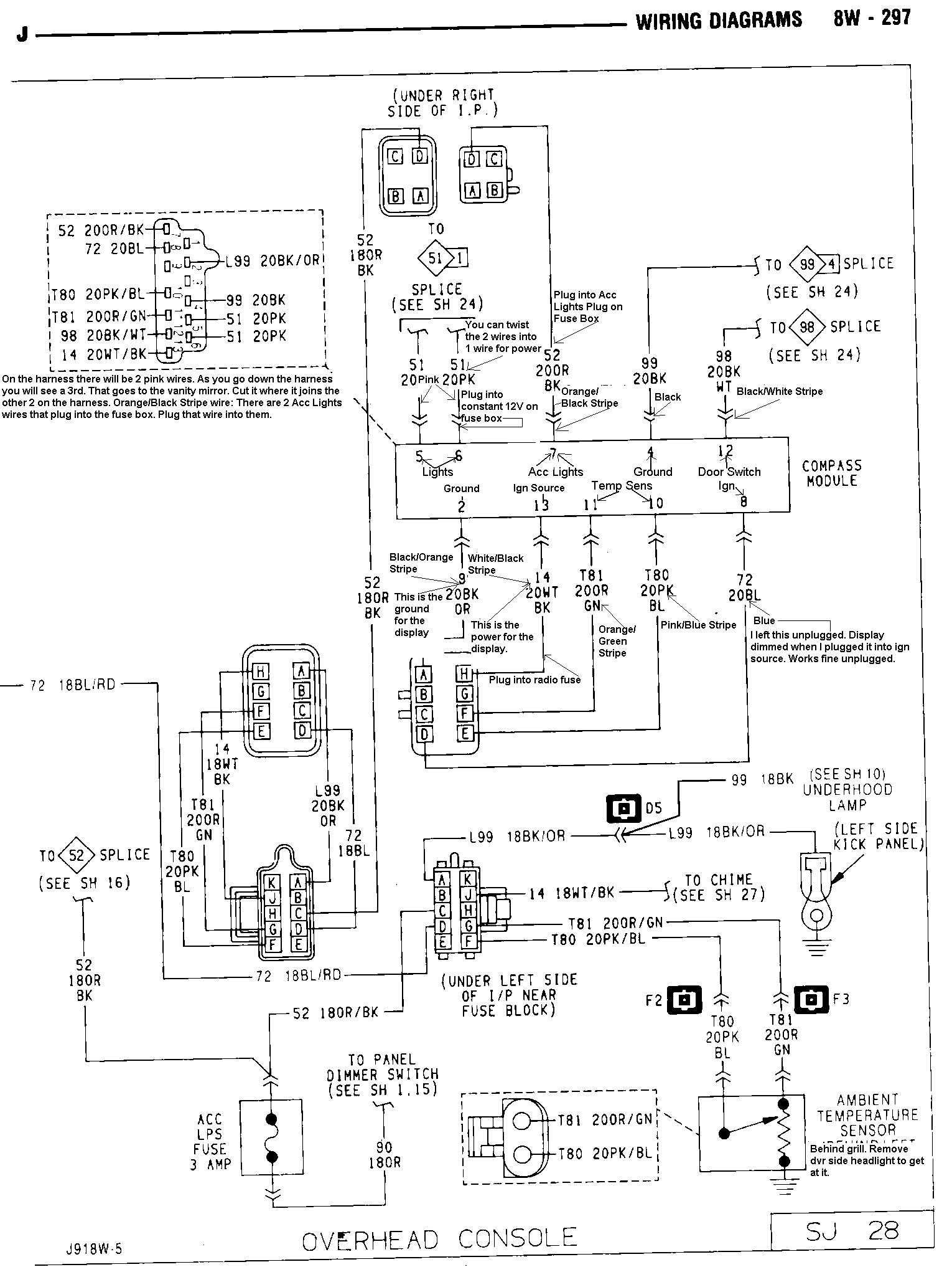 91consolediagrammodified tom 'oljeep' collins fsj wiring page jeep cherokee overhead console wiring diagram at bakdesigns.co